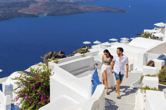 Happy romantic couple on Greek Island