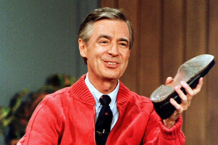 Mr. Rogers holding his shoe