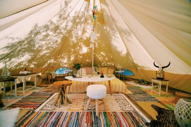 Glamping inside Tent