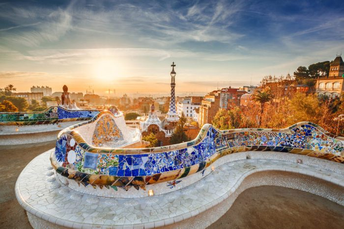View of Barcelona from the park at sunrise