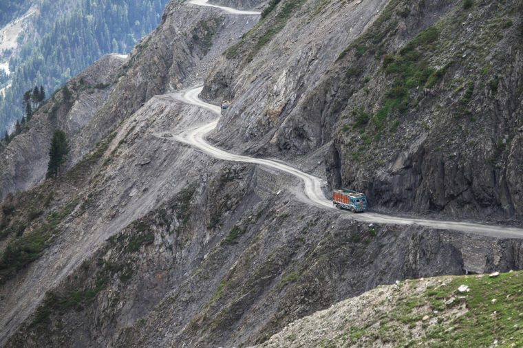 Zojila Pass is a dangerous road between Leh-Srinagar in Jammu and Kashmir, India