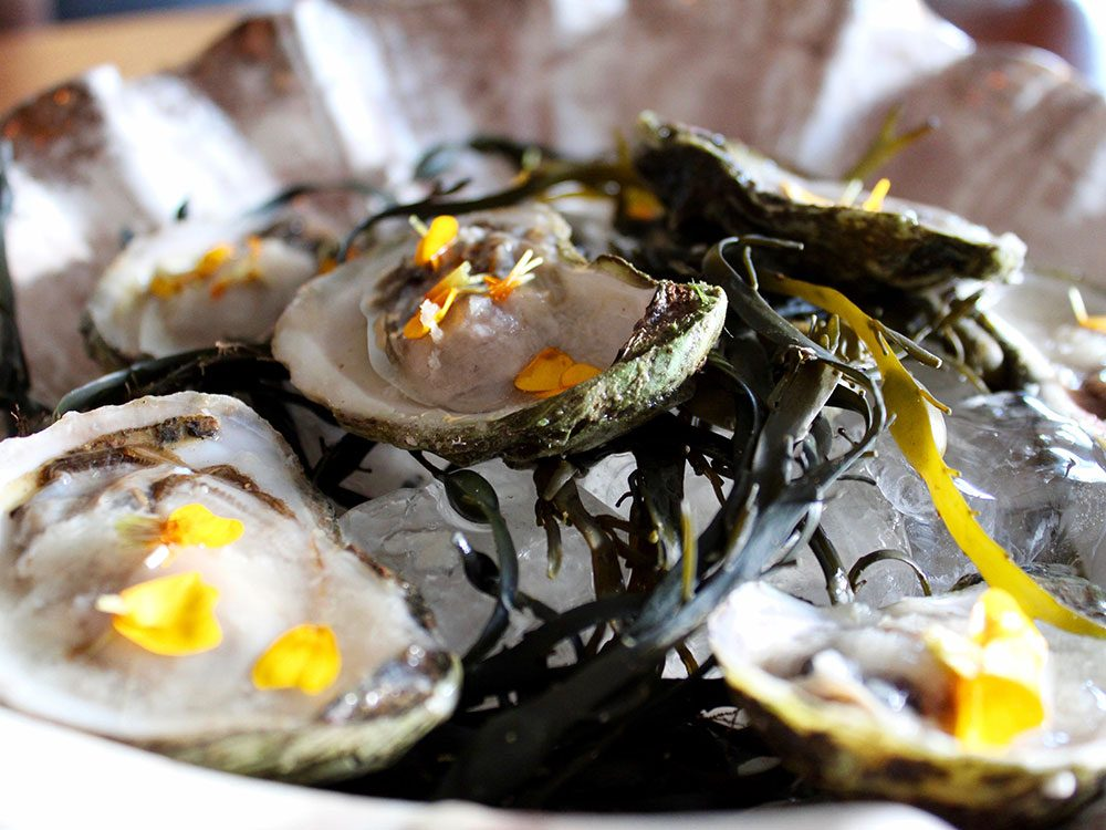 Oyster dish at The Hollows restaurant in Saskatoon
