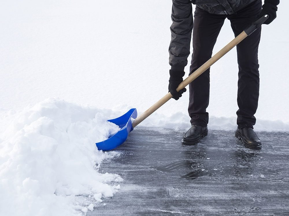 Use cooking spray on a snow shovel