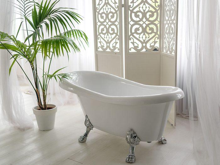 Use nail polish remove to remove soap scum from a bathtub