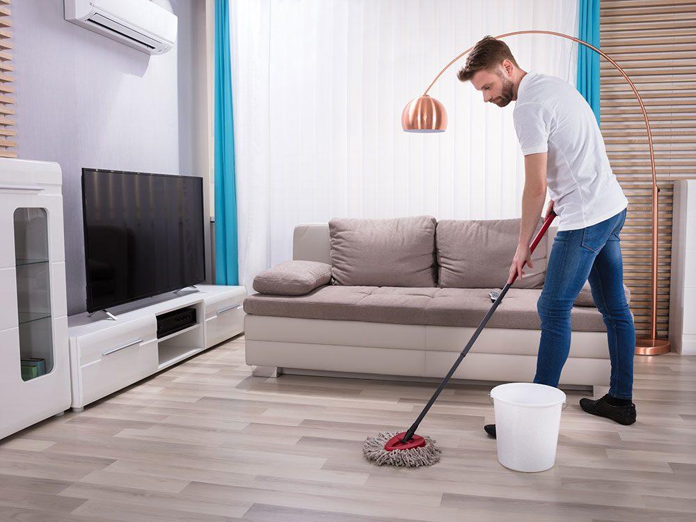 Use nail polish remover to clean laminate floors
