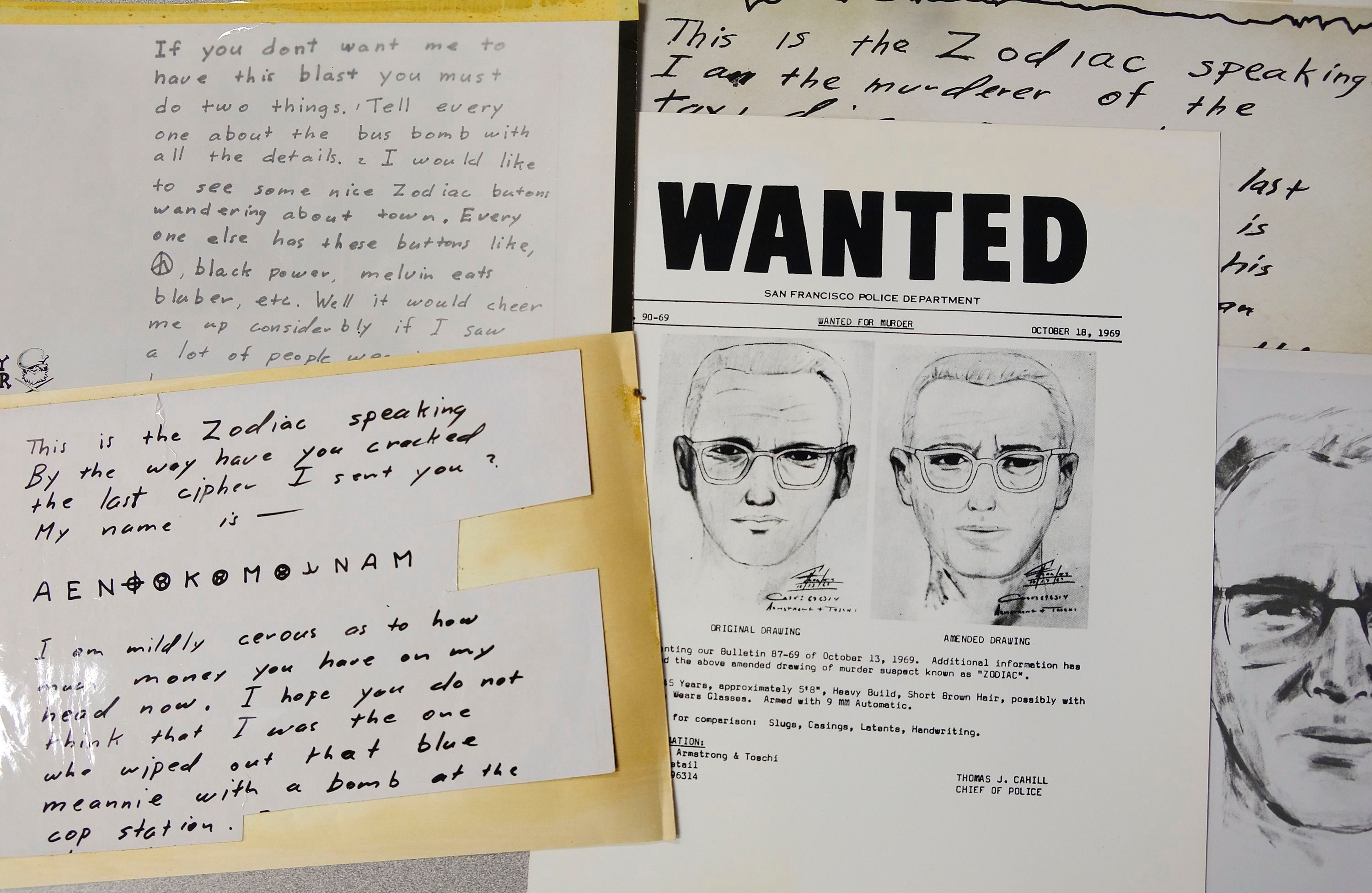 A San Francisco Police Department wanted bulletin and copies of letters sent to the San Francisco Chronicle by a man who called himself Zodiac are displayed, in San Francisco. Detectives in Northern California are trying to get a DNA profile on the Zodiac Killer to track him down using the same family-tree tracing technology investigators used in the Golden State Killer case. Vallejo police Detective Terry Poyser tells the Sacramento Bee his agency has recently submitted two envelopes that contained letters from the Zodiac Killer for DNA analysis. The Zodiac Killer stabbed or shot to death five people in Northern California in 1968 and 1969. He was dubbed the Zodiac Killer after he sent taunting letters and cryptograms to police and newspapers that included astrological symbols Zodiac Killer DNA, San Francisco, USA - 03 May 2018
