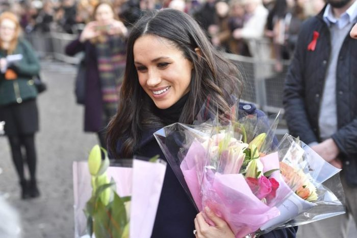 Meghan Markle receives flowers from fans