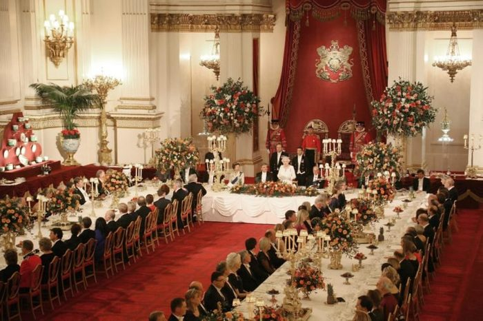 Queen Elizabeth II and President of Turkey Abdullah Gul flanked by the Princess Anne (top table, left) and Prince Philip (top table, right) as they attend a State Banquet at Buckingham Palace