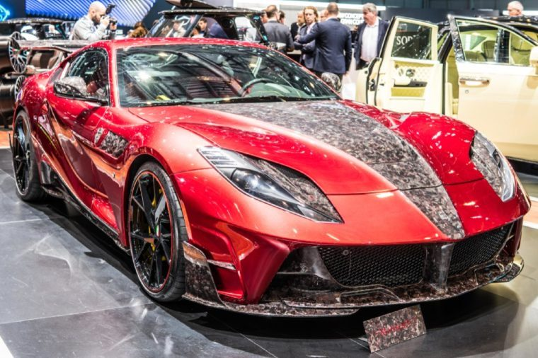 Geneva, Switzerland, March 06, 2018: metallic red Mansory the Stallone Ferrari 812 Superfast at 88th Geneva International Motor Show GIMS