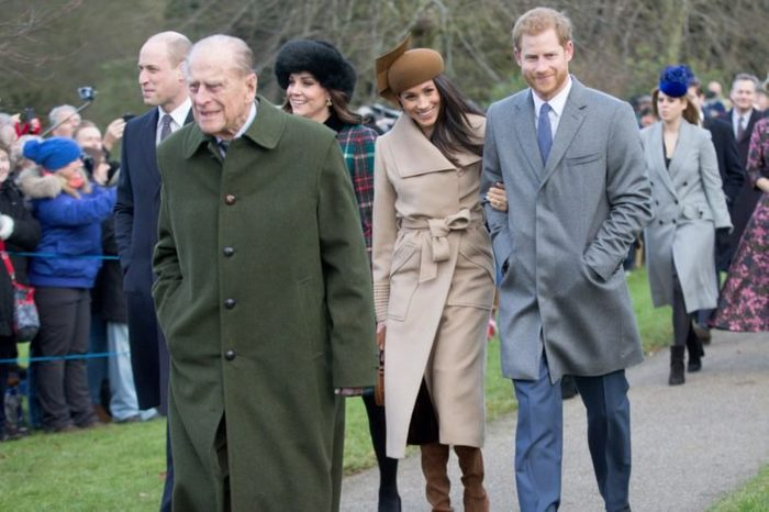 Prince William and Catherine Duchess of Cambridge, Meghan Markle and Prince Harry at the Christmas Day morning church service at St Mary Magdalene Church in Sandringham, Norfolk.