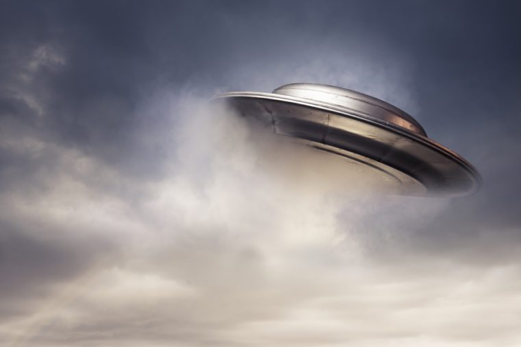 UFO flying in a dark sky