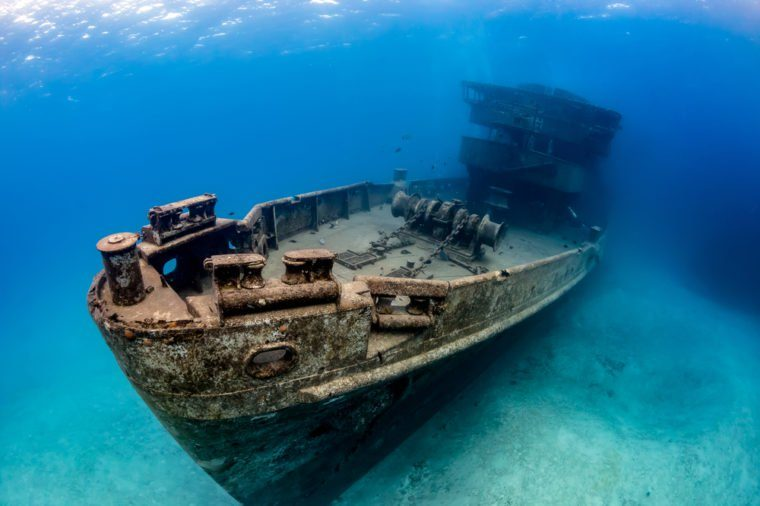 Underwater Wreck of the USS Kittiwake - a large artificial reef in the Caribbean