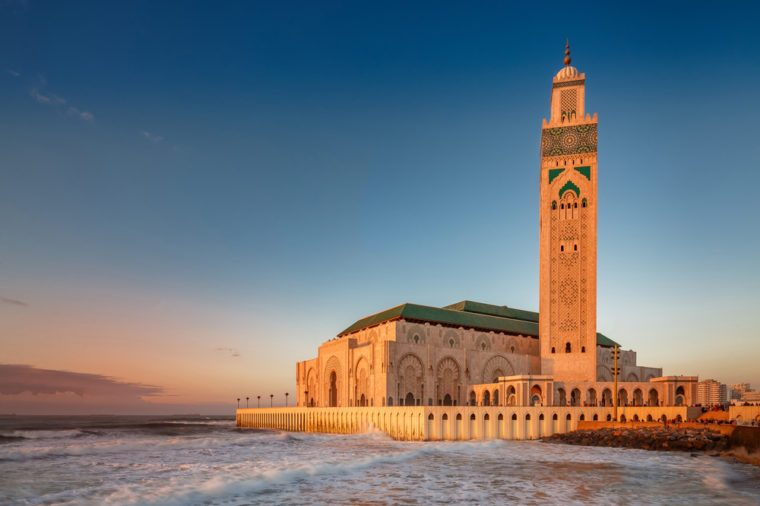 The Hassan II Mosque is the largest mosque in Morocco. Shot after sunset at blue hour in Casablanca.