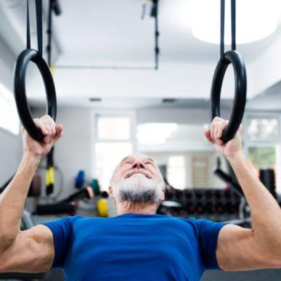 Elderly man strength training