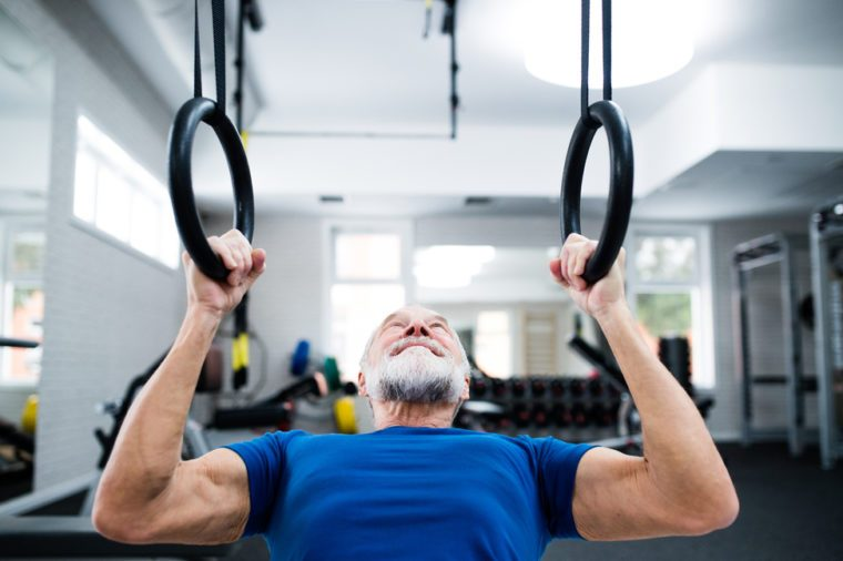 Elderly man strength training