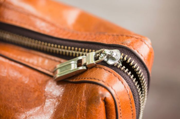 Brown leather bag with big zipper