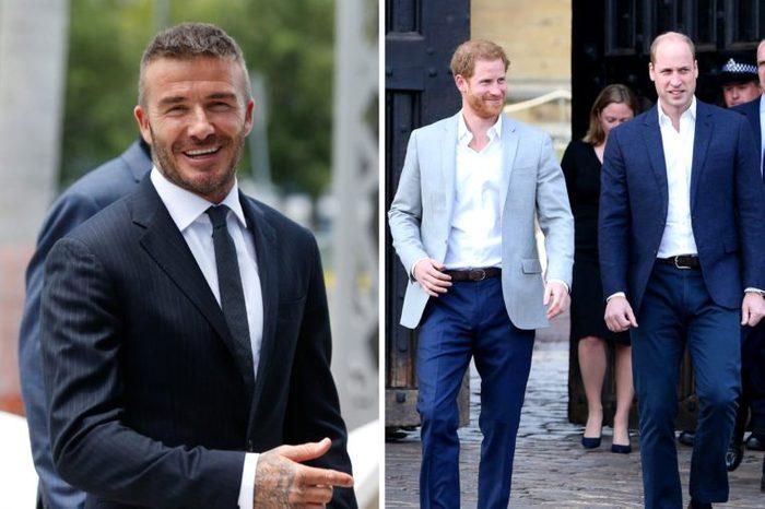 David Beckham and Princes William and Harry