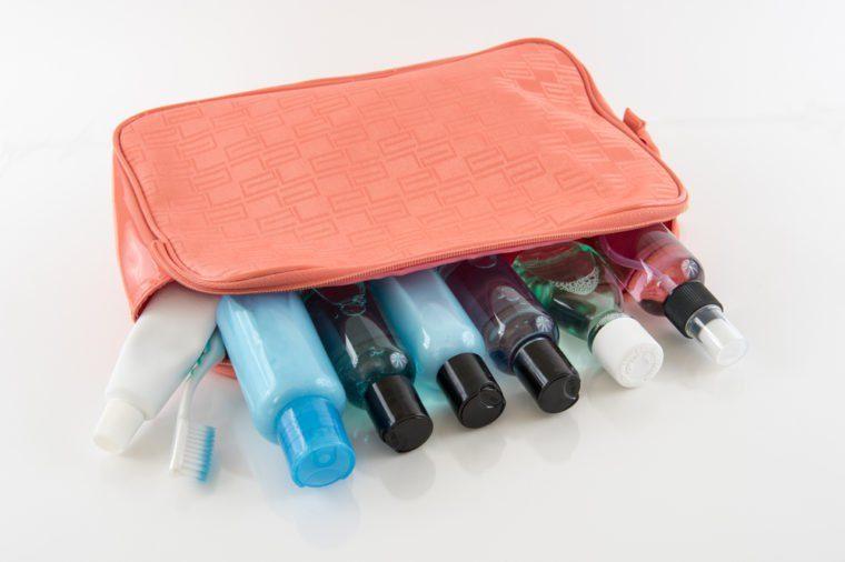 Orange Travel Toiletry Bag with Travel Toiletries