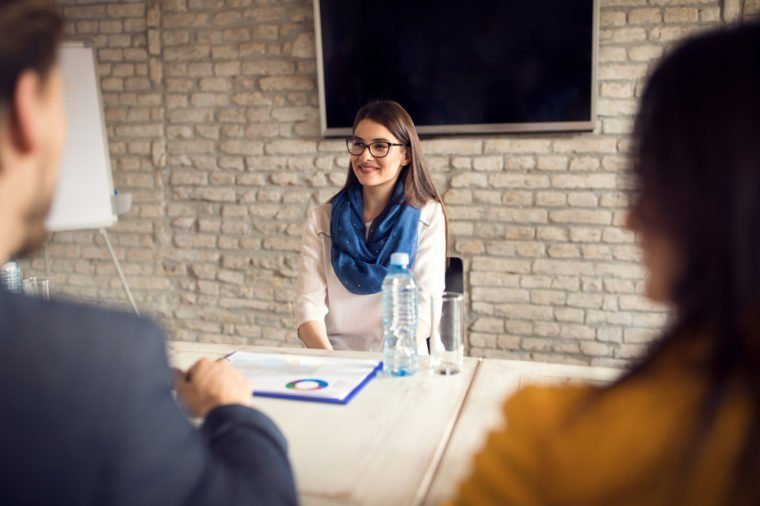 Female on job interview in company