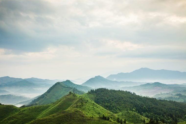 mountains under mist in the morning in Zixi county, Fuzhou city,Jiangxi Province,China