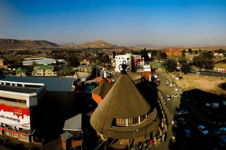 Souvenir shop in the form of traditional Basotho hat aka mokorotlo 28.08.2013 Maseru, Lesotho