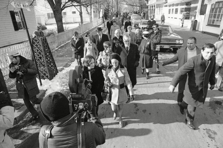 Five girls who are testifying at inquest into the death of Mary Jo Kopechne at Dukes County court house in Edgartown, walk down street for lunch during recess. Miss Kopechne died in car driven by Sen. Edward M. Kennedy when it went off bridge on Chappaquiddick Island and into a pond last July 18. The girls are (foreground l. to r.) Esther Newberg, 27, of Arlington, Va., Susan Tannenbaum, 24, of Washington, Marry Ellen Lyons, 23, center, of Milton, Mass., Rosemary Keough, 24, left rear, of Washington, and Nancy Lyons, 25, of Washington