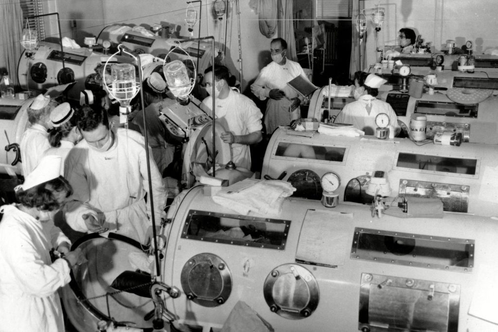 Polio ward with iron lungs