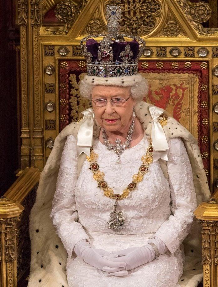 Queen Elizabeth II wearing crown