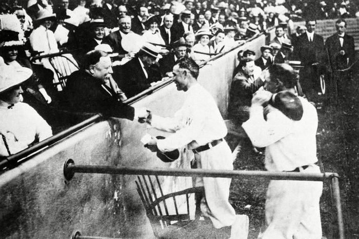 William Howard Taft, Clark Griffith President William Howard Taft shakes hands with Clark Griffith of the Washington Senators after Taft threw out the first ball to open the season