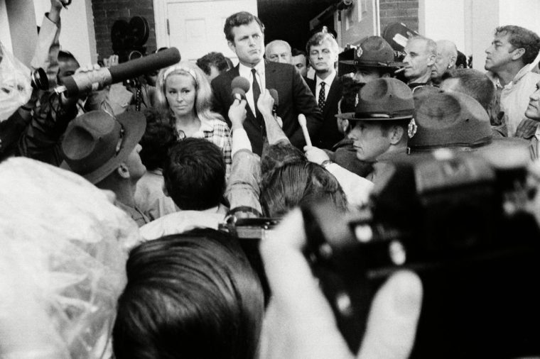 Sen. Edward Kennedy as he emerged from court in Edgartown, Mass., with his wife Joan after pleading guilty to leaving the scene of a fatal auto accident. He was given a two-month jail sentence, suspended on probation
