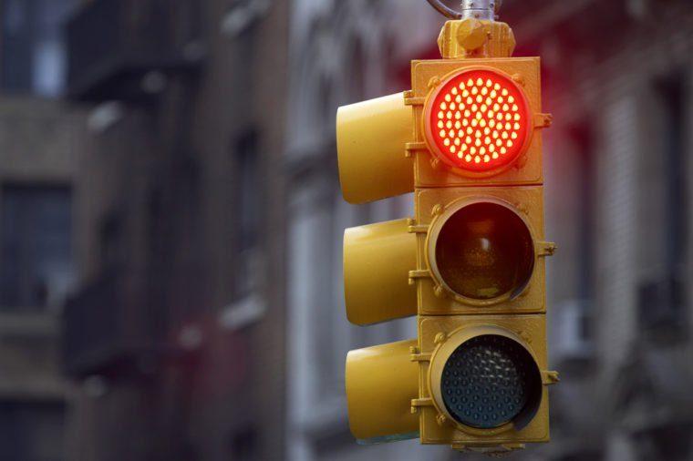 Traffic light on red, Manhattan, New York, America, USA