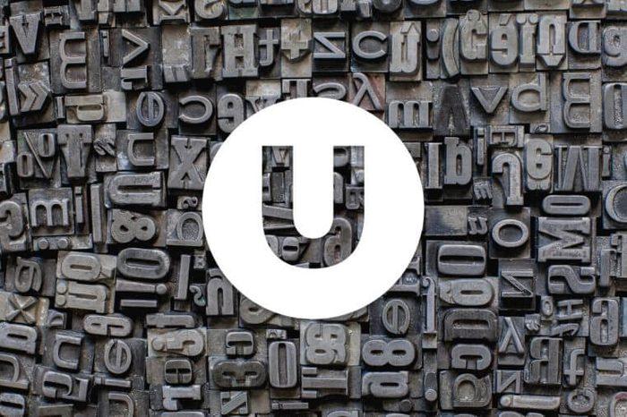 English alphabet letter U