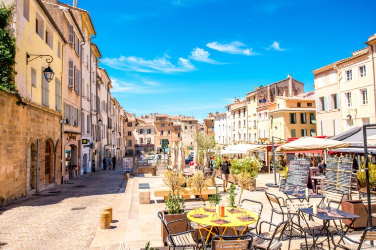 Aix-en-Provence, France - June 20, 2016: Cardeurs square with cafes and restaurants in the old town of Aix-en-Provence city on the south of France.