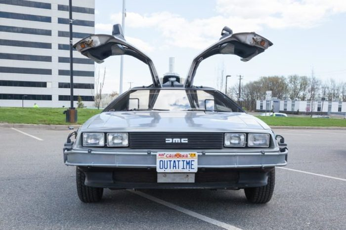 APRIL 26, 2015 - Woodbridge, NJ: A replica of the Back to the Future DeLorean is shown at the Cars of the Hollywood Screen car show.