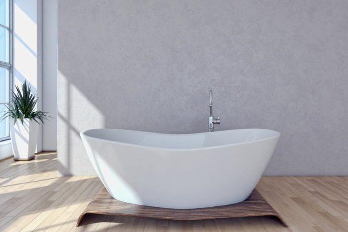 Modern bright bathroom, interiors. 3D rendering