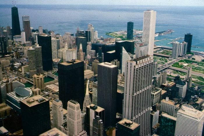 View of Chicago skyline looking east from the Willis Tower towards Lake Michigan