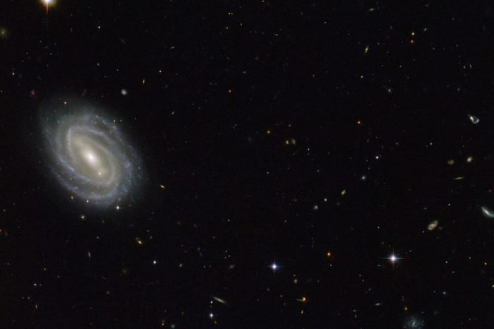 """This new NASA/ESA Hubble Space Telescope image shows a beautiful spiral galaxy known as PGC 54493, located in the constellation of Serpens (The Serpent). This galaxy is part of a galaxy cluster that has been studied by astronomers exploring an intriguing phenomenon known as weak gravitational lensing. This effect, caused by the uneven distribution of matter (including dark matter) throughout the Universe, has been explored via surveys such as the Hubble Medium Deep Survey. Dark matter is one of the great mysteries in cosmology. It behaves very differently from ordinary matter as it does not emit or absorb light or other forms of electromagnetic energy — hence the term """"dark."""" Even though we cannot observe dark matter directly, we know it exists. One prominent piece of evidence for the existence of this mysterious matter is known as the """"galaxy rotation problem."""" Galaxies rotate at such speeds and in such a way that ordinary matter alone — the stuff we see — would not be able to hold them together. The amount of mass that is """"missing"""" visibly is dark matter, which is thought to make up some 27 percent of the total contents of the Universe, with dark energy and normal matter making up the rest. PGC 55493 has been studied in connection with an effect known as cosmic shearing. This is a weak gravitational lensing effect that creates tiny distortions in images of distant galaxies."""