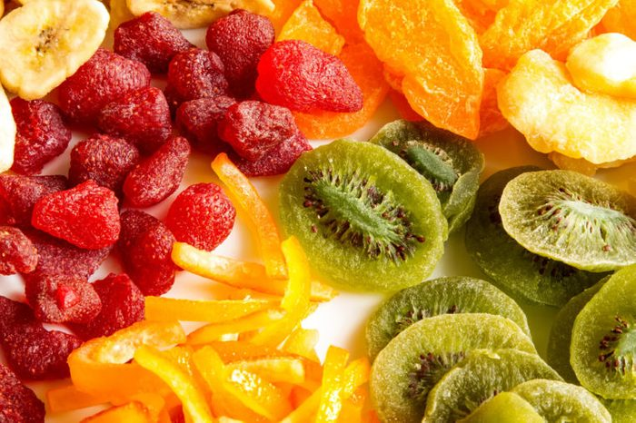 Selection of colorful dried fruits background