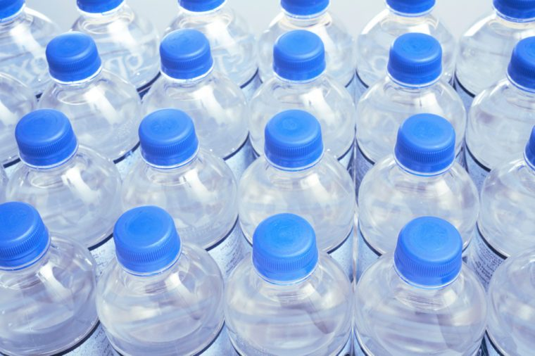 Close-up of generic bottled water
