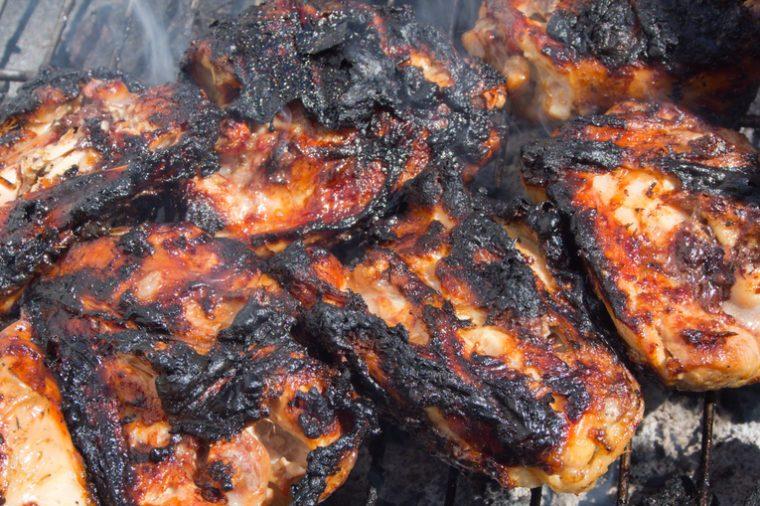 Grilled, blackened chicken