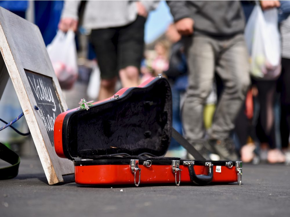 London busker's violin case