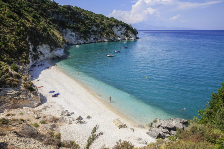 Holiday makers on the beach of Zakynthos, Greece - 25 Jul 2015