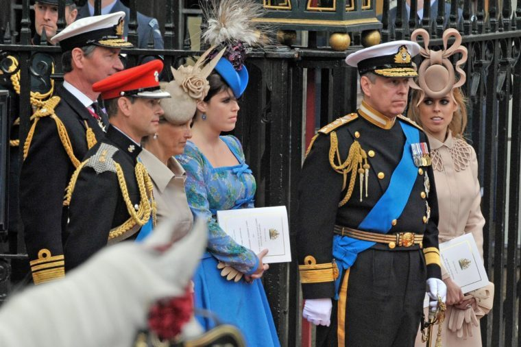 Marriage Of Prince William To Catherine Duchess of Cambridge At Westminster Abbey London. Pic Shows: Tim Laurence Prince Edward Countess Of Wessex Princess Eugenie Prince Andrew And Princess Beatrice. The Royal Wedding Of Prince William Of Wales To Catherine Duchess of Cambridge (kate Middleton) On 29th April 2011. Now Duke And Catherine Duchess of Cambridge. Pic Bruce Adams / Copy English - 29.4.11