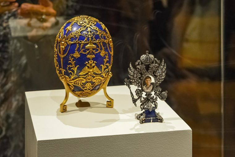 Montreal, Canada - March 27, 2016: Close-up of Alexei Nikolaevich faberge egg, Tsarevich of Russia