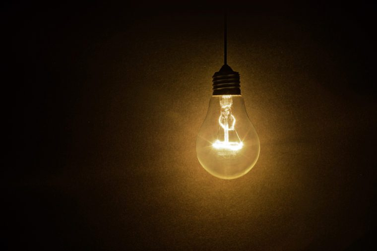 Shining light bulb