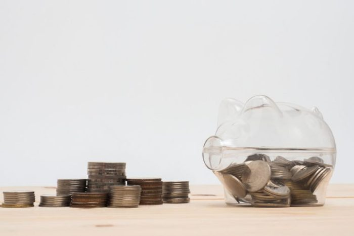 Piggy Bank Money Saving Finance Concept.Piggy bank pink color on white background.
