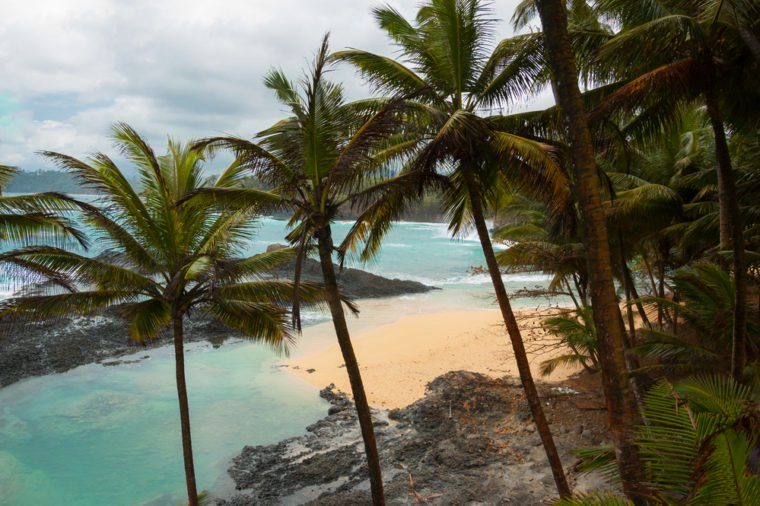 Tropical beach with palm trees and pristine blue sea. Praia Piscina, Sao tome and Principe.