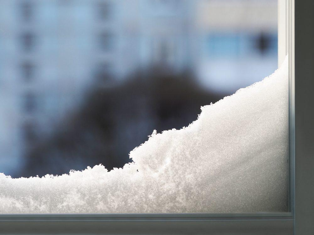 Snow on windowsill