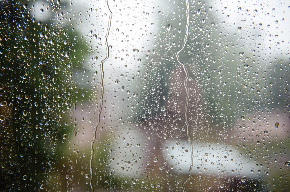Rain on windowsill