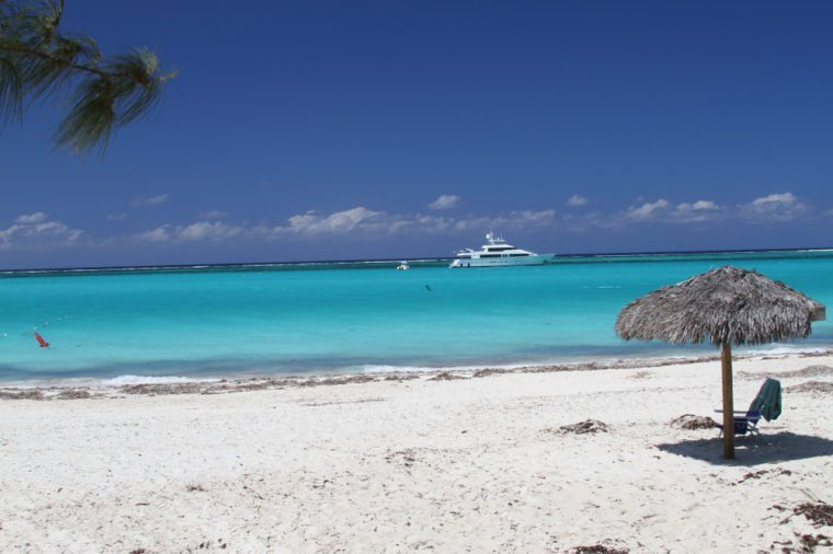 Yacht anchored in Grace Bay, Providenciales, Turks and Caicos Islands.